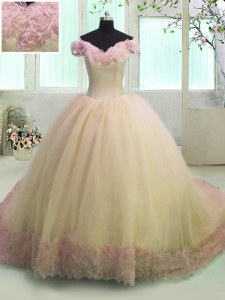 Off the Shoulder Yellow Lace Up Sweet 16 Quinceanera Dress Hand Made Flower Short Sleeves With Train Court Train