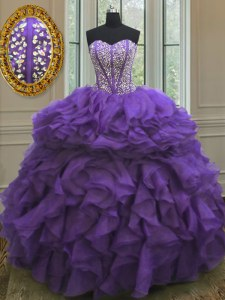 Spectacular Floor Length Eggplant Purple Ball Gown Prom Dress Sweetheart Sleeveless Lace Up