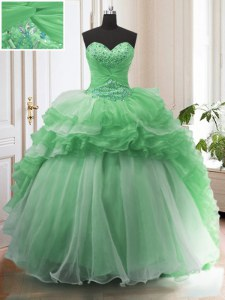 Sophisticated Ruffled Green Sleeveless Organza Sweep Train Lace Up Sweet 16 Dress for Military Ball and Sweet 16 and Quinceanera