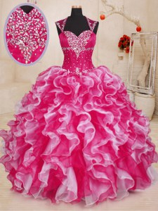Free and Easy Sleeveless Beading and Ruffles Lace Up Quinceanera Gown