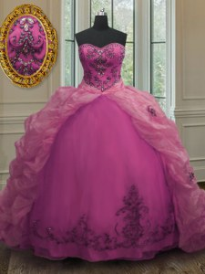 Lovely Fuchsia Ball Gowns Sweetheart Sleeveless Organza With Train Court Train Lace Up Beading and Appliques and Pick Ups Quinceanera Gowns