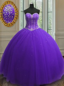 Beading and Sequins Vestidos de Quinceanera Purple Lace Up Sleeveless Floor Length