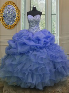 Blue Sweetheart Neckline Beading and Ruffles and Pick Ups Quinceanera Gowns Sleeveless Lace Up