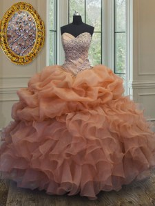 Custom Designed Floor Length Orange Sweet 16 Dress Organza Sleeveless Beading and Ruffles and Pick Ups