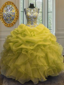 Popular Scoop Sleeveless Beading and Ruffles and Pick Ups Lace Up Ball Gown Prom Dress