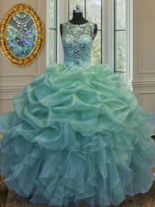 Elegant Green Ball Gowns Organza Scoop Sleeveless Beading and Ruffles and Pick Ups Floor Length Lace Up Sweet 16 Dresses