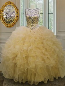 Ball Gowns Sweet 16 Quinceanera Dress Light Yellow Scoop Organza Sleeveless Floor Length Lace Up