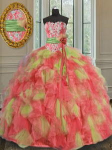 Multi-color Sleeveless Floor Length Beading and Ruffles and Sashes ribbons Lace Up 15th Birthday Dress