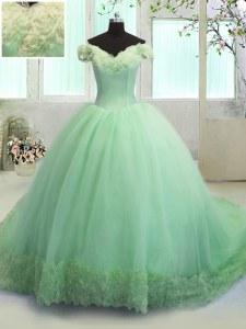 Adorable Court Train Ball Gowns Ball Gown Prom Dress Off The Shoulder Organza Short Sleeves With Train Lace Up