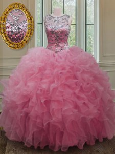 Scoop Sleeveless Floor Length Beading and Ruffles Lace Up Quinceanera Dresses with Rose Pink