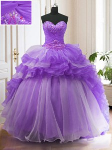On Sale Ruffled With Train Ball Gowns Sleeveless Lavender Quinceanera Dress Sweep Train Lace Up