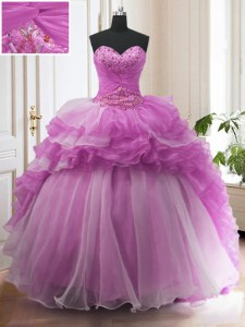 Charming Ruffled Sweep Train Ball Gowns 15th Birthday Dress Lilac Sweetheart Organza Sleeveless With Train Lace Up