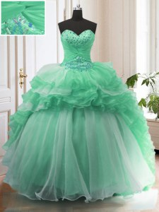 Glittering With Train Lace Up 15 Quinceanera Dress Apple Green for Military Ball and Sweet 16 and Quinceanera with Beading Sweep Train