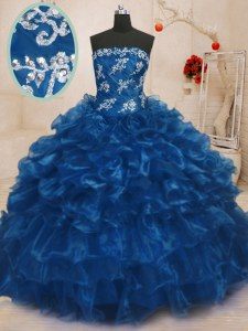 Affordable Navy Blue Organza Lace Up Strapless Sleeveless Floor Length Quinceanera Gown Beading and Appliques and Ruffles