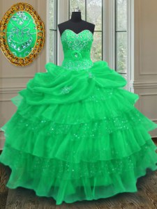 Green Halter Top Neckline Beading and Ruffled Layers and Pick Ups Quince Ball Gowns Sleeveless Lace Up