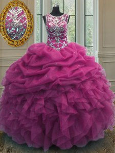 Fuchsia Scoop Neckline Beading and Ruffles and Pick Ups Sweet 16 Quinceanera Dress Sleeveless Lace Up
