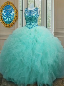 Scoop Floor Length Lace Up Quinceanera Gowns Turquoise for Military Ball and Sweet 16 and Quinceanera with Beading and Ruffles