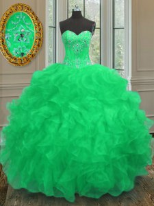 Popular Floor Length Green 15th Birthday Dress Sweetheart Sleeveless Lace Up