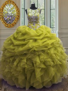 High Quality Scoop Sleeveless Floor Length Beading and Ruffles and Pick Ups Lace Up Sweet 16 Dresses with Yellow Green
