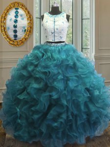 Simple Scoop Sleeveless Organza Floor Length Clasp Handle Quinceanera Dresses in Teal with Beading and Ruffles