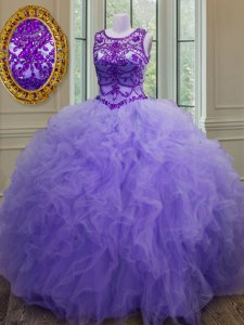 New Style Lavender Bateau Lace Up Beading and Ruffles Quince Ball Gowns Sleeveless
