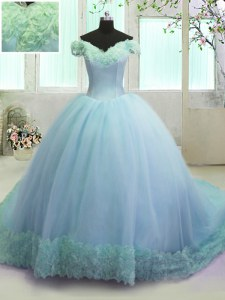 Hot Selling Off The Shoulder Sleeveless Court Train Lace Up Quinceanera Dresses Light Blue Organza