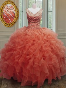 Sophisticated Orange Red Zipper V-neck Beading and Ruffles Quinceanera Dresses Organza Sleeveless