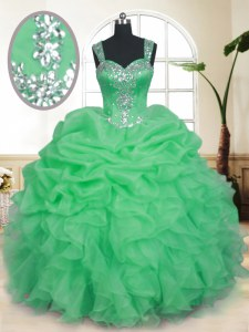 Sleeveless Organza Floor Length Zipper Quinceanera Gown in with Beading and Ruffles and Pick Ups