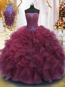 Inexpensive Floor Length Burgundy Quince Ball Gowns Strapless Sleeveless Lace Up