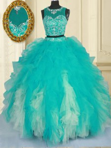Nice Turquoise Zipper Scoop Beading and Ruffles Sweet 16 Dress Tulle Sleeveless