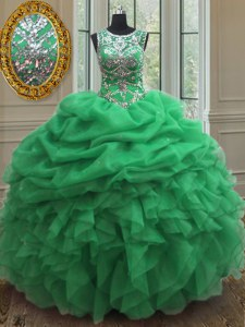 Scoop Pick Ups Sleeveless Organza Lace Up Quince Ball Gowns for Military Ball and Sweet 16 and Quinceanera