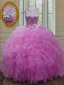 Chic Scoop Fuchsia Sleeveless Beading and Ruffles Floor Length Sweet 16 Quinceanera Dress