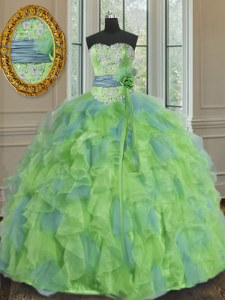 Pretty Multi-color Ball Gowns Beading and Appliques and Ruffles and Sashes ribbons and Hand Made Flower 15 Quinceanera Dress Lace Up Organza Sleeveless Floor Length