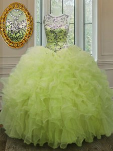 Exquisite Scoop Sleeveless Lace Up Sweet 16 Dress Yellow Green Organza