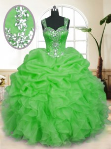 Exceptional Straps Sleeveless Quinceanera Gowns Floor Length Beading and Ruffles and Pick Ups Organza