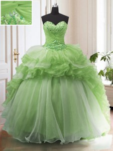 Admirable Organza Lace Up Sweet 16 Dress Sleeveless With Train Court Train Beading and Ruffled Layers
