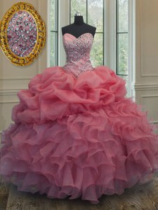 Pink Sleeveless Floor Length Beading and Ruffles and Pick Ups Lace Up Ball Gown Prom Dress
