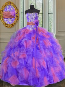 Discount Multi-color Ball Gowns Organza Sweetheart Sleeveless Beading and Appliques and Ruffles and Sashes ribbons and Hand Made Flower Floor Length Lace Up Sweet 16 Quinceanera Dress