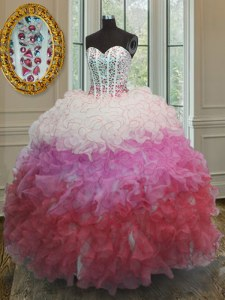 Organza Sweetheart Sleeveless Lace Up Beading and Ruffles and Sashes ribbons Quinceanera Dress in Multi-color