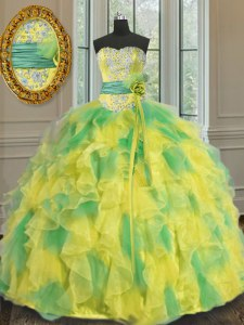 Sumptuous Multi-color Lace Up Halter Top Beading and Appliques and Ruffles and Sashes ribbons and Hand Made Flower 15 Quinceanera Dress Organza Sleeveless