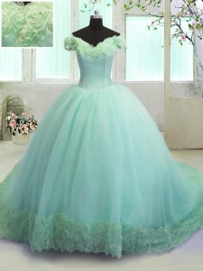 Eye-catching Off the Shoulder Organza Sleeveless With Train Vestidos de Quinceanera Court Train and Hand Made Flower