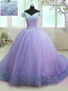 Off the Shoulder Short Sleeves Organza With Train Court Train Lace Up Sweet 16 Dress in Lavender with Hand Made Flower