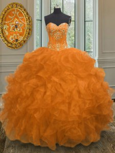 Orange Quinceanera Gowns Military Ball and Sweet 16 and Quinceanera and For with Beading and Embroidery and Ruffles Sweetheart Sleeveless Lace Up