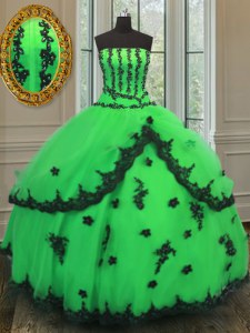 Green Ball Gowns Strapless Sleeveless Organza Floor Length Lace Up Beading and Embroidery Quinceanera Dresses