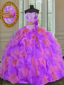 Affordable Ball Gowns Quince Ball Gowns Multi-color Sweetheart Organza Sleeveless Floor Length Lace Up