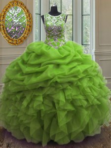 Modern Pick Ups Scoop Sleeveless Lace Up Quinceanera Gowns Organza