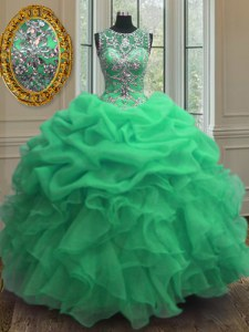 Scoop Green Lace Up Quinceanera Dresses Beading and Ruffles Sleeveless Floor Length
