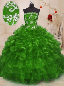 Hot Selling Strapless Sleeveless Lace Up Sweet 16 Dresses Organza