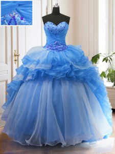With Train Lace Up 15th Birthday Dress Blue for Military Ball and Sweet 16 and Quinceanera with Beading and Ruffled Layers Sweep Train