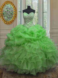Sweetheart Sleeveless 15 Quinceanera Dress Floor Length Beading and Ruffles and Pick Ups Organza